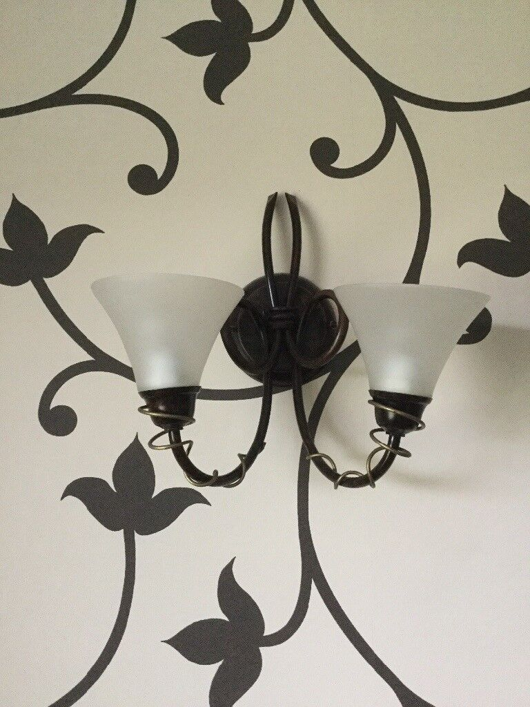 chandelier with matching wall lights and lamp