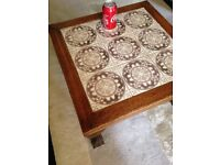 Moroccan style hand made solid tiled wooden coffee table delivery possible.