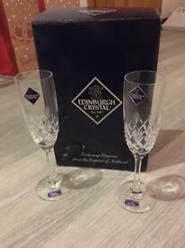 Boxed Edinburgh crystal champagne flutes
