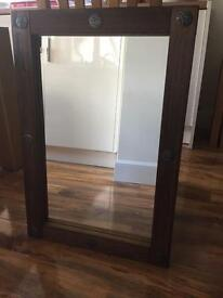 Large wood trimmed mirror