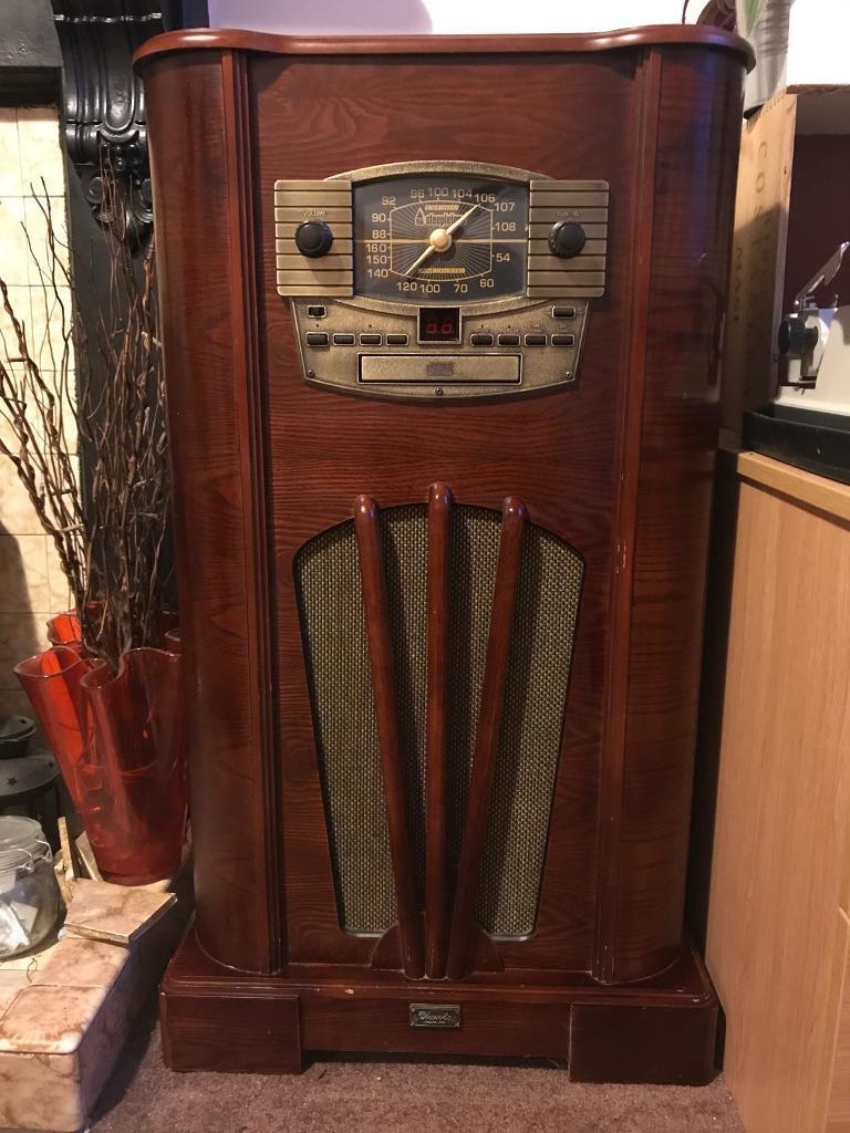 Retro record, cd and radio player