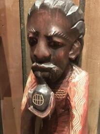 Hand carved Rasta Caribbean Black African Art