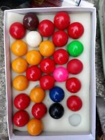 Snooker pool balls.