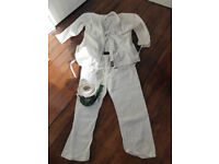 Martial Arts Karate Suit Uniform Gi with white and green belts. Suitable for tall adult. Tochi Gi