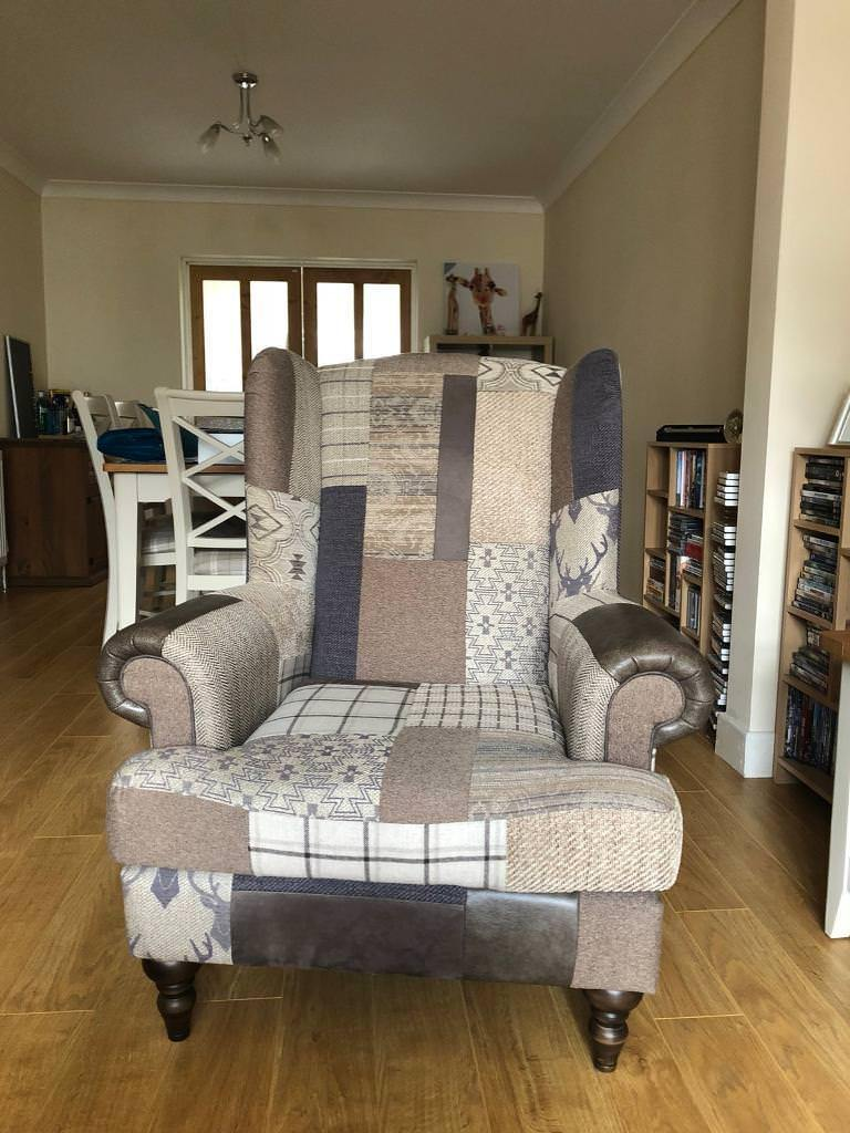 Country Patch High Wing Back Chairs Dfs