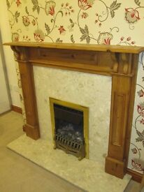 Marble Fire Surround and Wooden Mantle