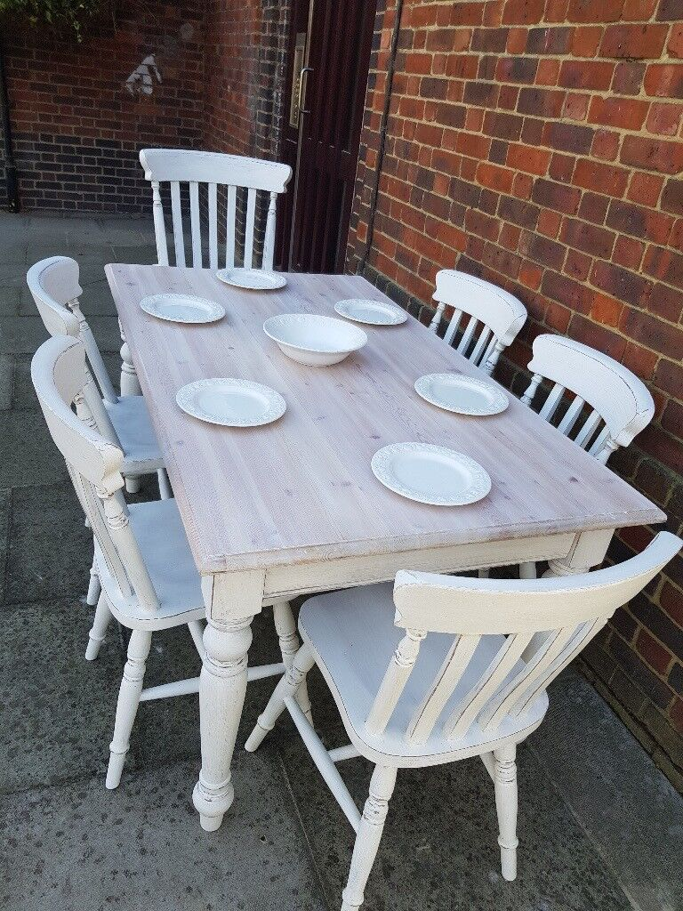 Rustic Farmhouse Dining Table 6 Chairs White Distressed Shabby
