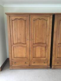 Solid Oak Stand-alone Wardrobe with Drawers and Moveable Shelving (2 available)