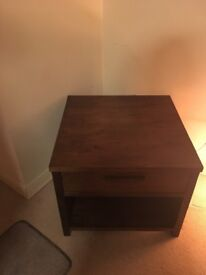 solid brown wooden coffee table