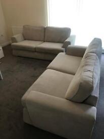 Sofas , near new , DFS haze light grey fabric