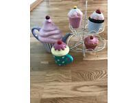 Cupcakes collection cupcakes stand teapot mug and pots