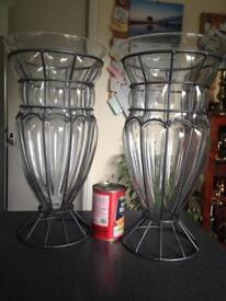 Pair Amalfi Blown Glass Vases by Tarnow of Poland.