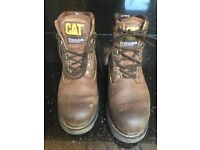 Mens CAT leather boots, size 8, worn once