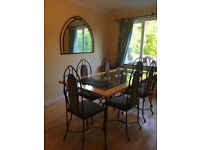 Original solid maple and iron dining table/chairs and sideboard