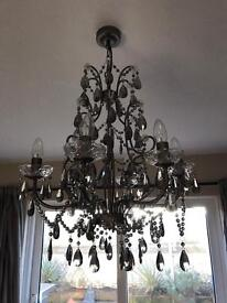 Glass Crystal Chandelier with 6 candle light bulbs