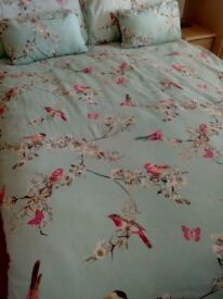 Beautiful birds king size duvet cover & matching curtains