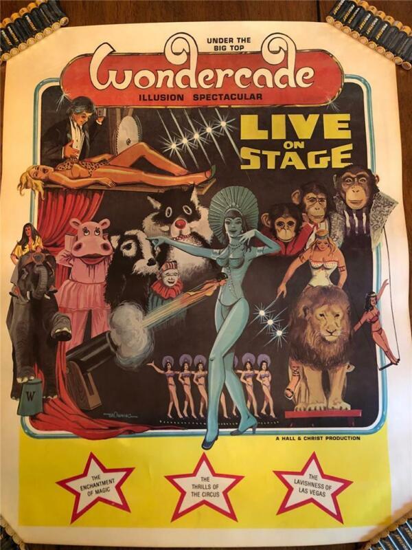 Vintage RARE Wondercade illusion Spectacular Poster Magic Sideshow circus