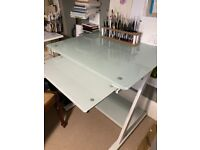 Attractive and strong white metal and tempered glass computer desk