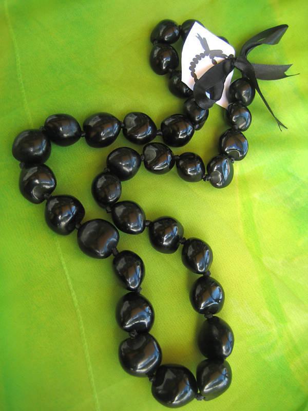 Hawaii Wedding / Graduation Black Kukui Nut Lei Luau Hula Necklace ( QTY 2 )