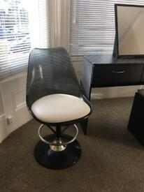 Retro tulip swivel chair seat black and white 60s style ghost dressing table seat