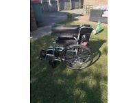 New wheelchair folding and light weight. Never been used. Was bought for my mum for a holiday.