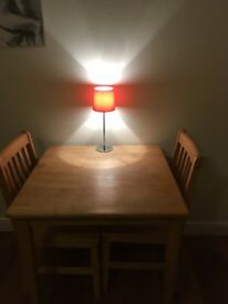 Solid wood, two person square table (79x79cm) with chairs, Montpelier