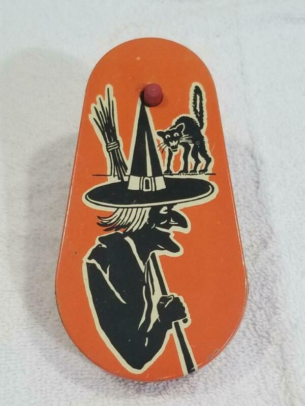 Vintage Tin Litho Kirchhof Halloween Witch / Cat Noise Maker Life Of The Party