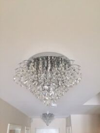 Pair of Chrome Chandeliers