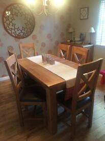 Oak table x6 chairs and sideboard