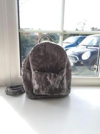 Crushed grey velvet backpack