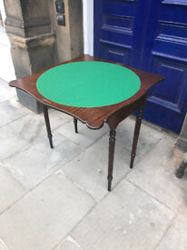 Mahogany Fold Over Card Table , green felt in good condition . Size L 31in W 15in H 31in