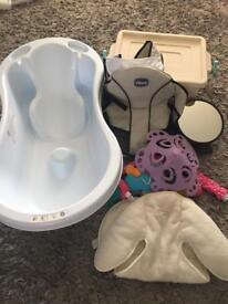 Baby bundle, bath, baby box, carrier, newborn car seat insert, cot mobile