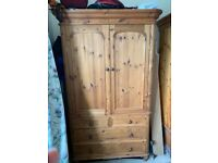 Solid pine wardrobe with draws