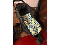 Graco Evo Mini pushchair stroller pram 3 wheel with footmuff