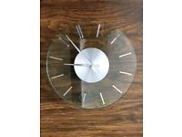 VINTAGE 70'S FLAT GLASS WALL CLOCK