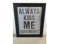 Cute bedroom picture with dark wooden frame