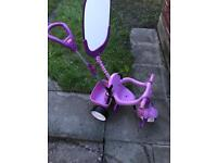 Little Tykes Girls Trike Tricycle push along with pedals pink