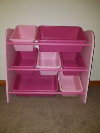 Two pink storage tub units