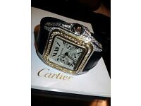 Cartier Santos 100 Chronograph Gold & Steel with 15ct diamonds VS1 (F-G) colour