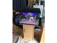 72l Juwel fish tank v g c full set up with stand filter heater light lid gravel nice ornament more