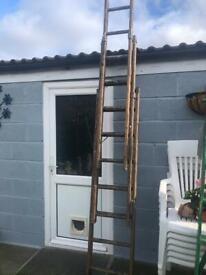 Wooden triple piece extension ladder