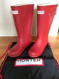Children's Hunter Wellies Size 13 with carry bag