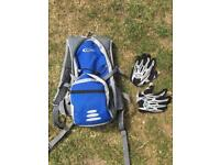 Mountain bike bag and gloves