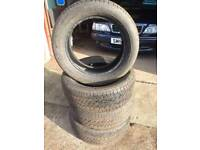 4 matching Yokohama tyres. 3--4 MM. left. 225/55/R17. Available in Kirkintilloch