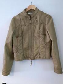 A faux leather cream women's jacket size L/14 Uk