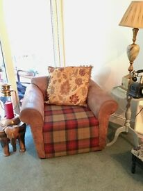 MUST GO BY 21ST APRIL - Nubuck Leather and Tartan Wool Armchair - Perfect Condition