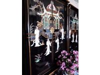 Oriental laquerd pillow mother of pearl wardrobe forsale