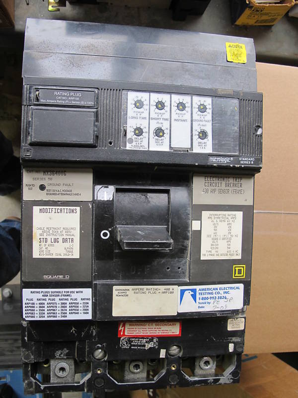Square D MX36400G, 400 AMP W/GROUND FAULT SENSOR   ,RECON W/TEST REPORT