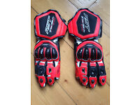 RST Tractech Evo 1579 Leather Motorcycle Gloves RED MEDIUM