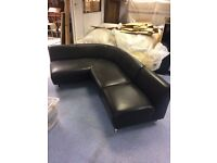 Curved real leather sofa